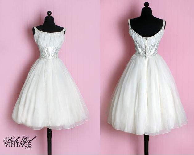 1950s white tea length wedding dress